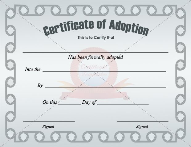 Adoption Certificate Template - Certificate Templates - certificate of origin template free