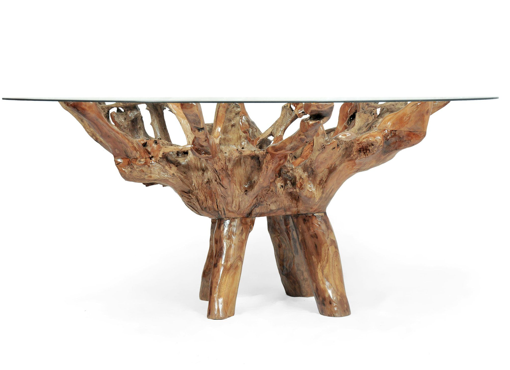 Teak Wood Root Dining Table Including A 63 Inch Round Glass Top In