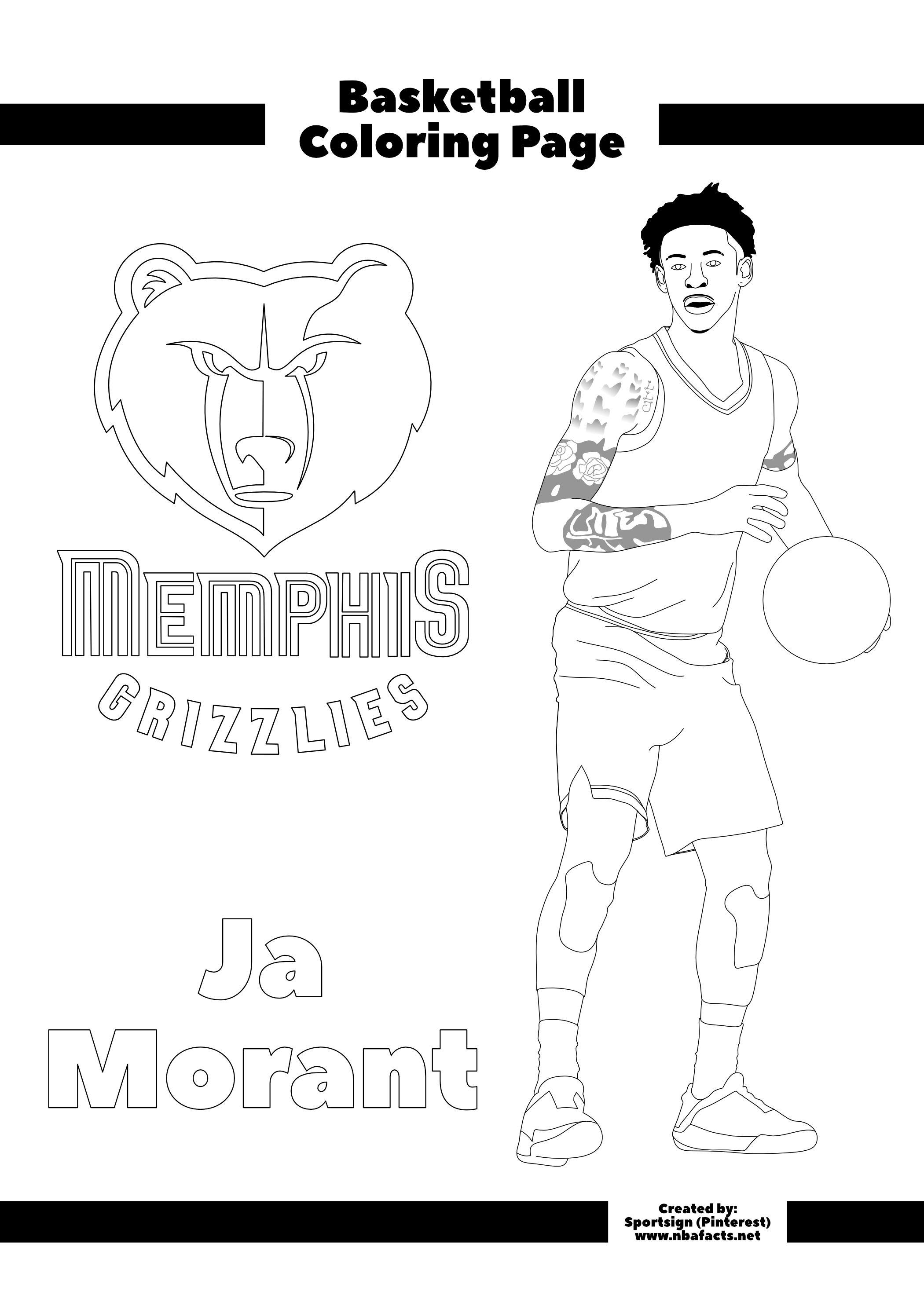 Ja Morant Free Nba Kids Coloring Sheet Coloring For Kids Coloring Sheets For Kids Coloring Sheets
