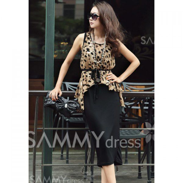 $11.95 Stylish Style Scoop Neck Leopard Sleeveless Spring Dress With Blouse For Women