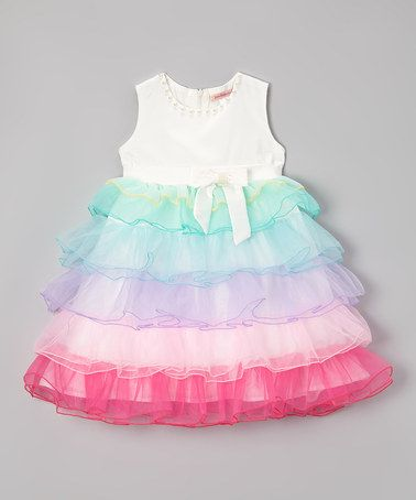 a48c96dd8 Another great find on  zulily! White Rainbow Ruffle Dress - Toddler ...
