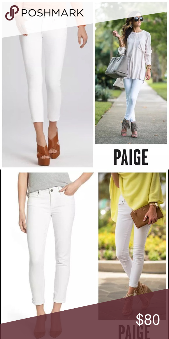 7a02b974d7b NWT Paige Kylie Crop with Roll Up Optic White Brand New with tags! Never  worn