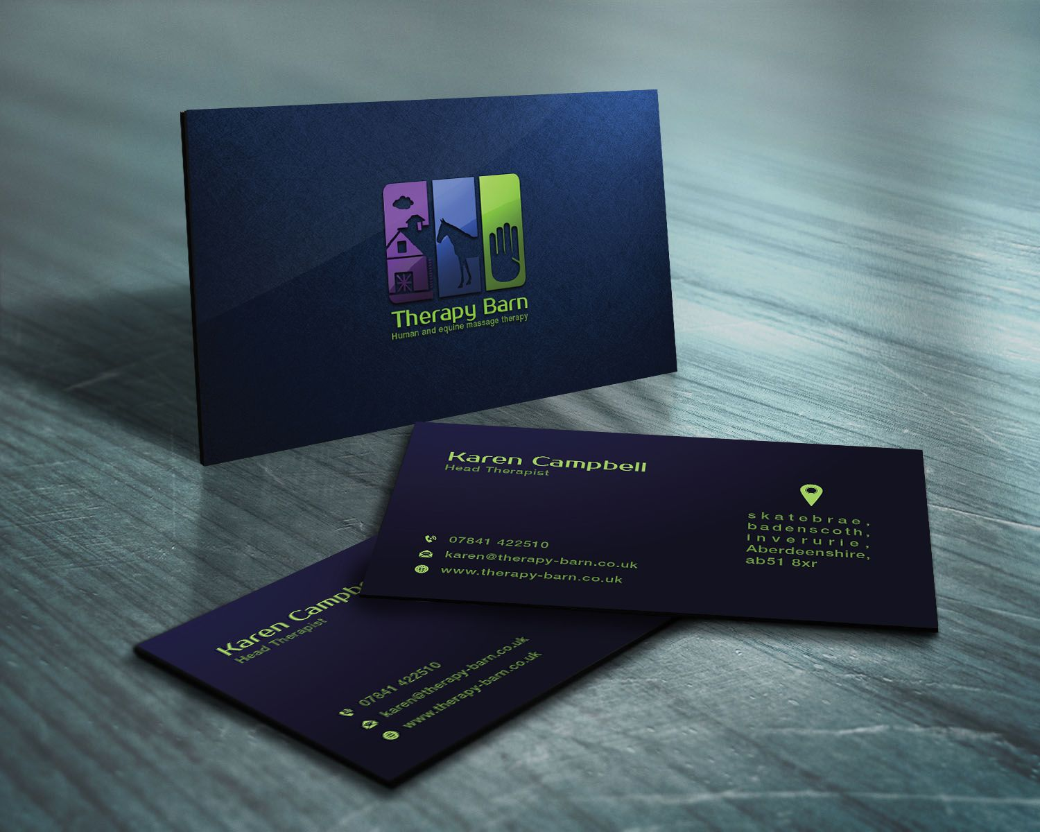 business card mock up for therapy barn human and equine massage