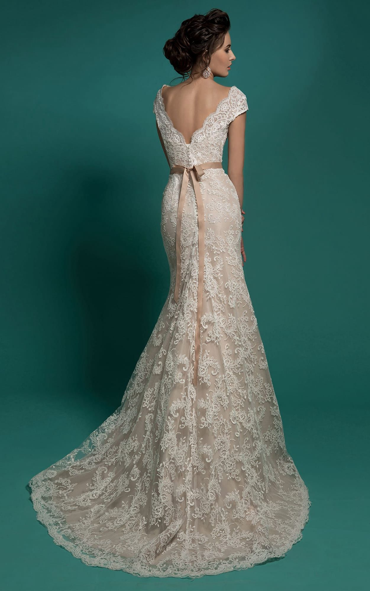 US176.89 Cap Sleeve VBack Sheath Wedding Dress with