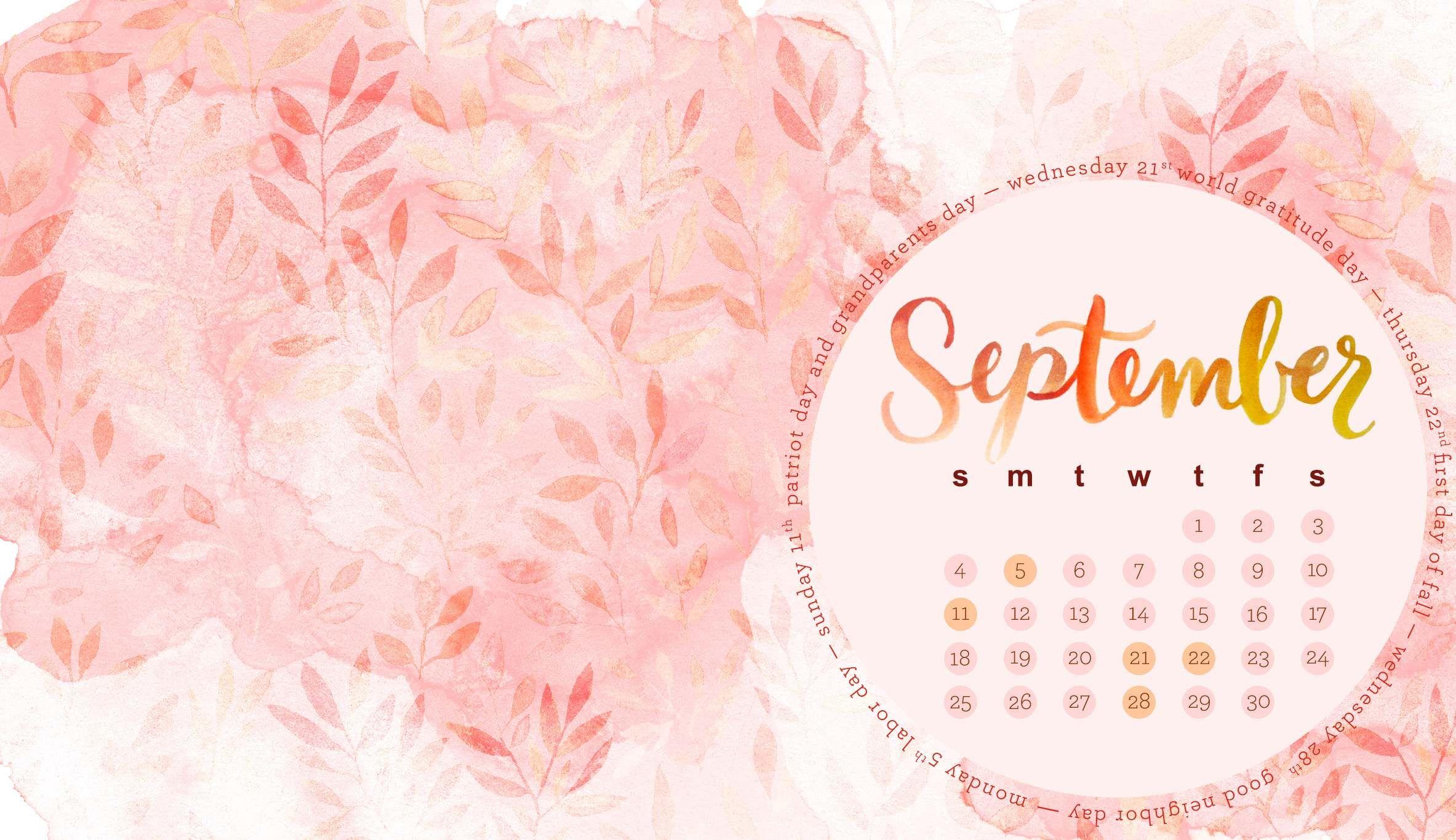 September 2018 Calendar Desktop Hd Wallpapers Desktop