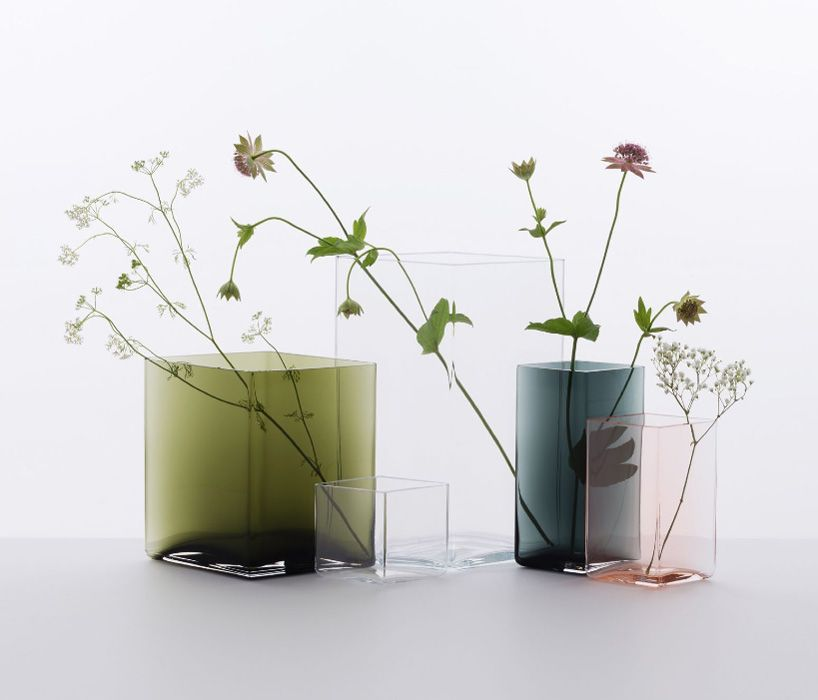 ruutu mouth blown glass vases by ronan