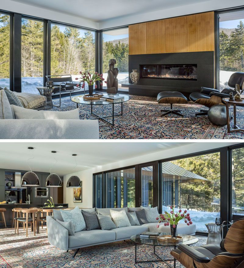 In This Modern Living Room A Horizontal Fireplace Breaks Up The
