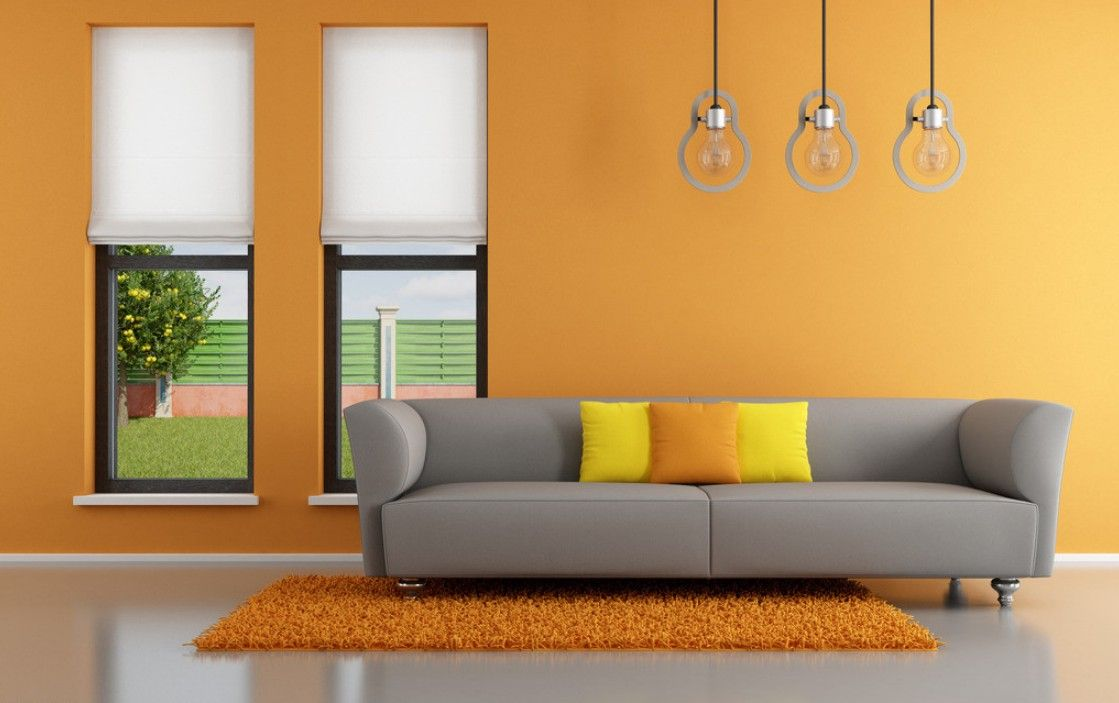 orange wall interior design - Home Wall Interior Design
