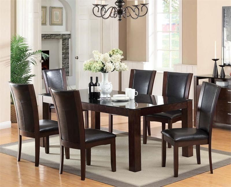 "76"" Astoria I Dark Cherry Glass Dining Set  Cherries Dark And Glass Simple Cherry Dining Room Chairs Sale Design Inspiration"