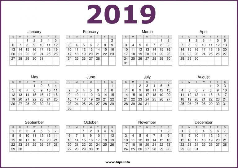 2019 12 Month in One Page Calendar PDF   Calendar ...