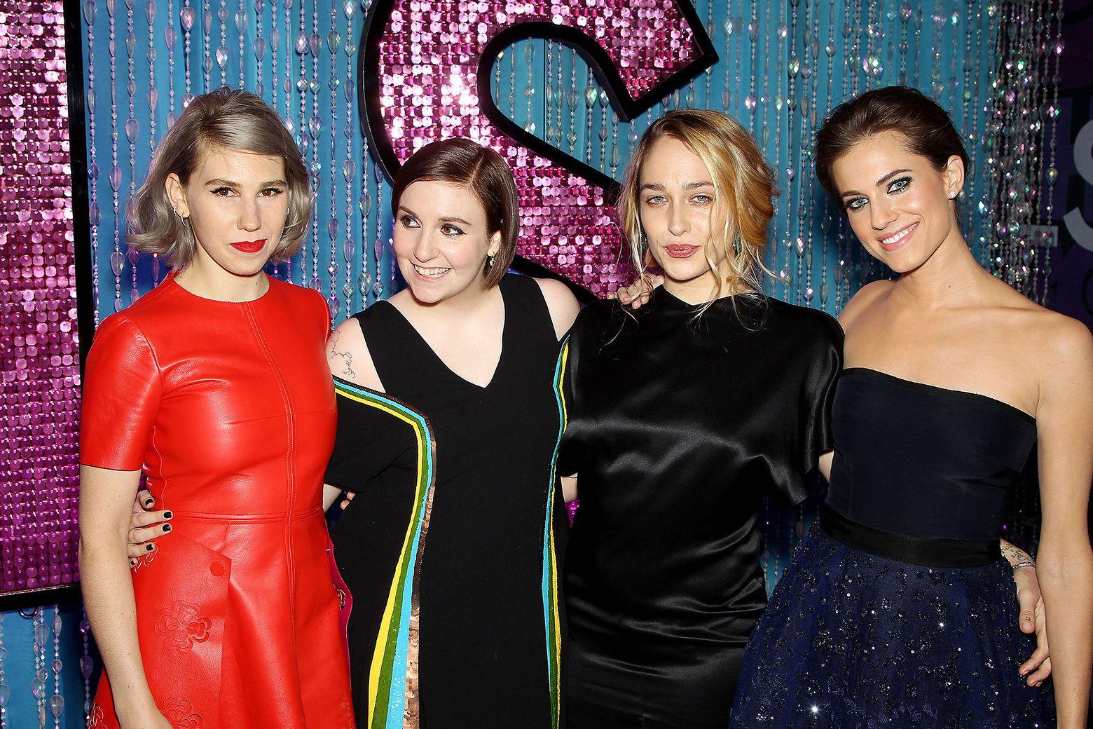 Zosia Mamet, Lena Dunham, Jemima Kirke, and Allison Williams - Photo: Marion Curtis, Starpix / HBO. Girls season 4 premiere.