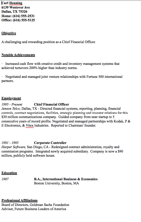 Sample Of Cfo Resume  HttpResumesdesignComSampleOfCfo