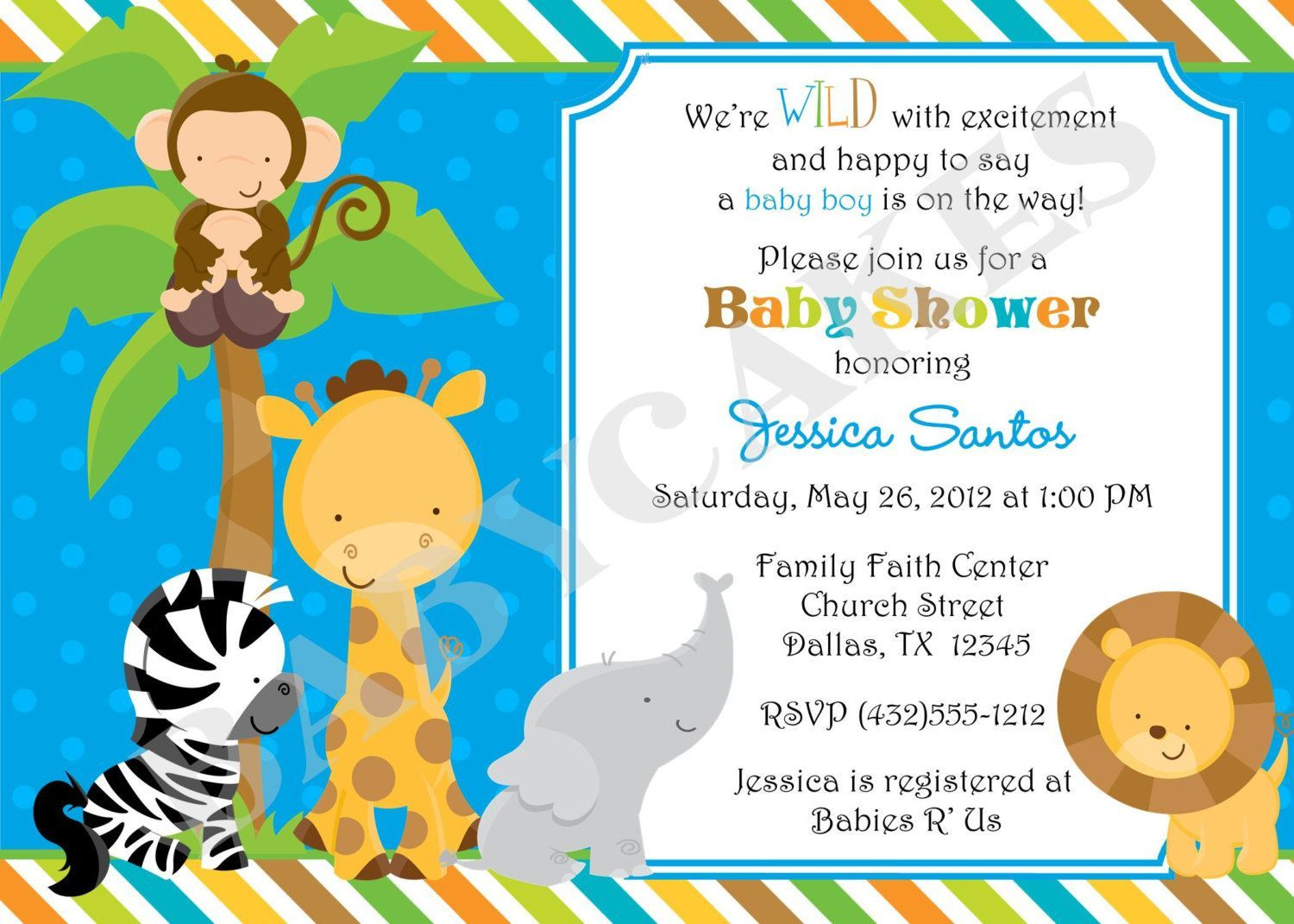 free jungle invitation template |  jungle jungle-animal-party, Baby shower invitations