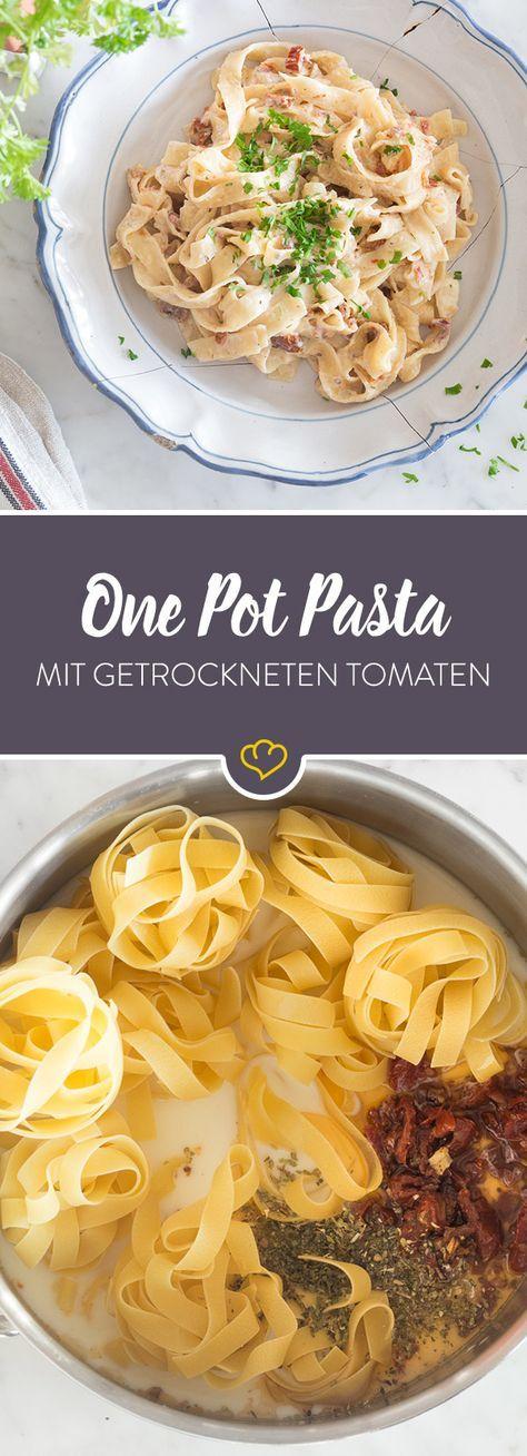 One Pot Pasta: Cremige Tagliatelle mit getrockneten Tomaten #onepotpastarecettes