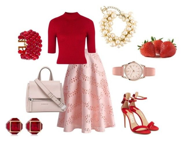 """Strawberry"" by bianca29antonioli ❤ liked on Polyvore featuring Chicwish, Topshop, Salvatore Ferragamo, Givenchy, Henry London, Chanel and Vita Fede"