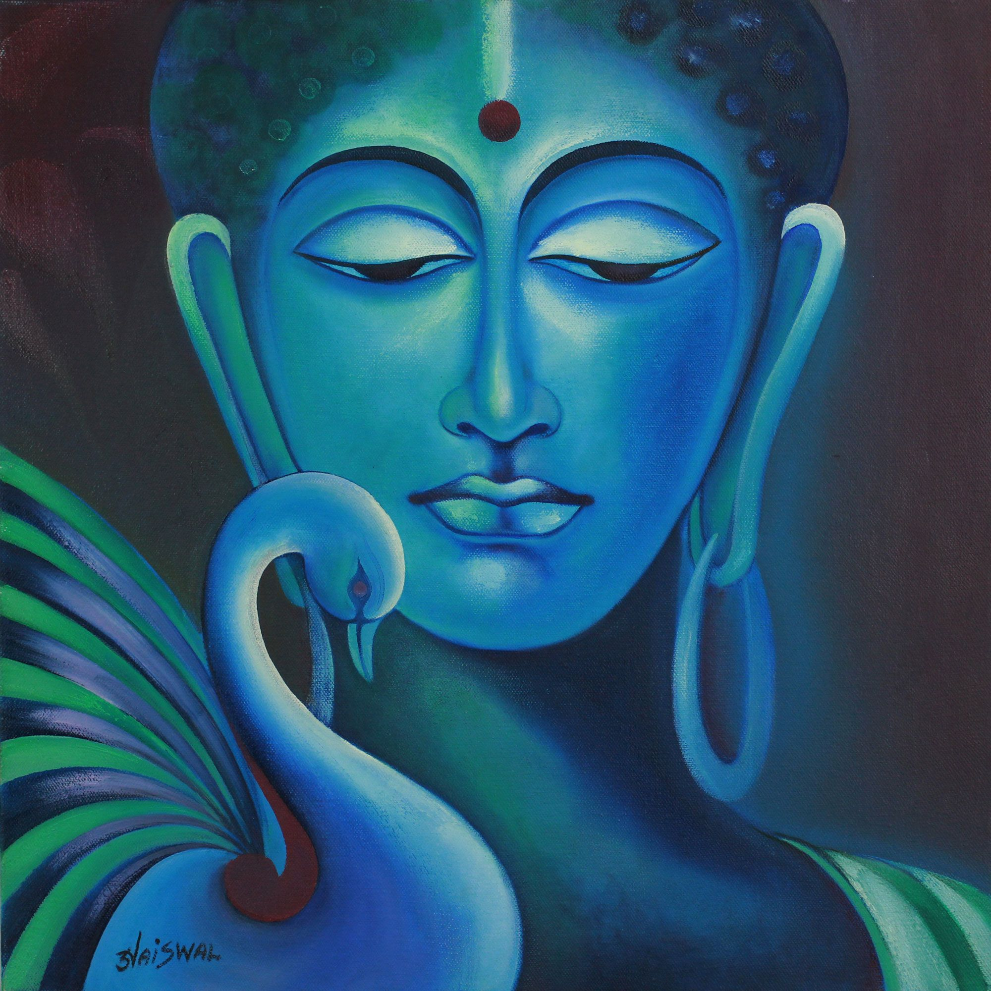Buddha and swan signed fine art painting in prayer for Buddha mural paintings