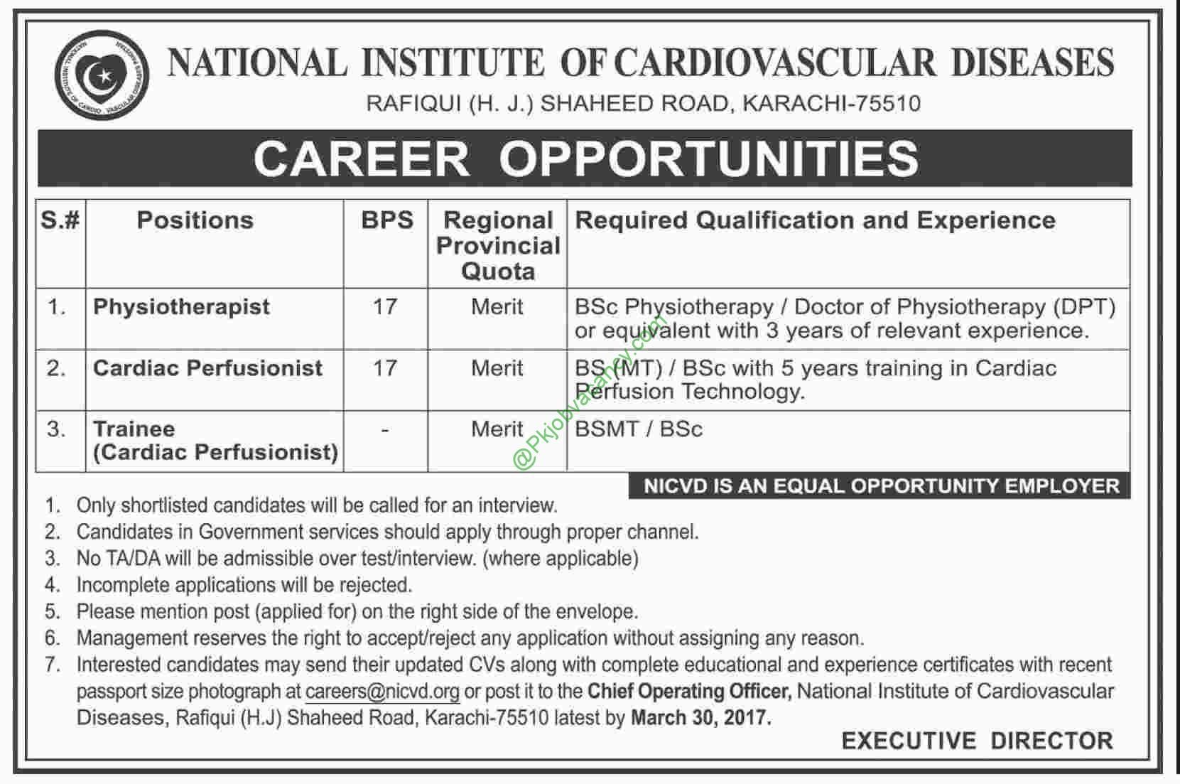 Jobs In National Institute Of Cardiovascular Diseases NICVD