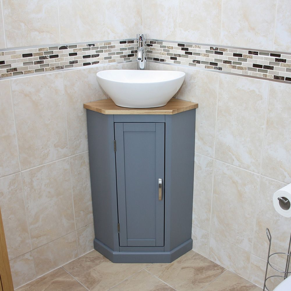 Grey Painted Corner Oak Vanity Unit With Wash Basin Ideal For Cloakroom Washbasin Design Small Toilet Room Corner Bathroom Vanity