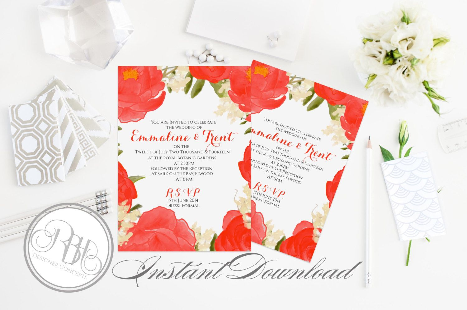 Red White Watercolor Wedding Invitation Template-INSTANT DOWNLOAD ...