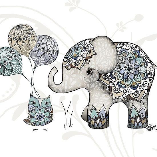 Minimalist Elephant Drawing: Owl & Elephant Mandala Blue Mint