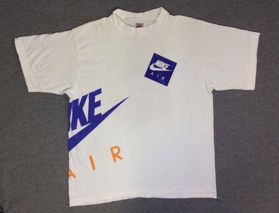 Nike Shirt 90 39 S Vintage Original Nike Air Box Swoosh Huge All Around Graphic Grey Tag Tshirt Usa Made Soft Cotton Nike Air Shirt Nike Shirts Vintage Nike