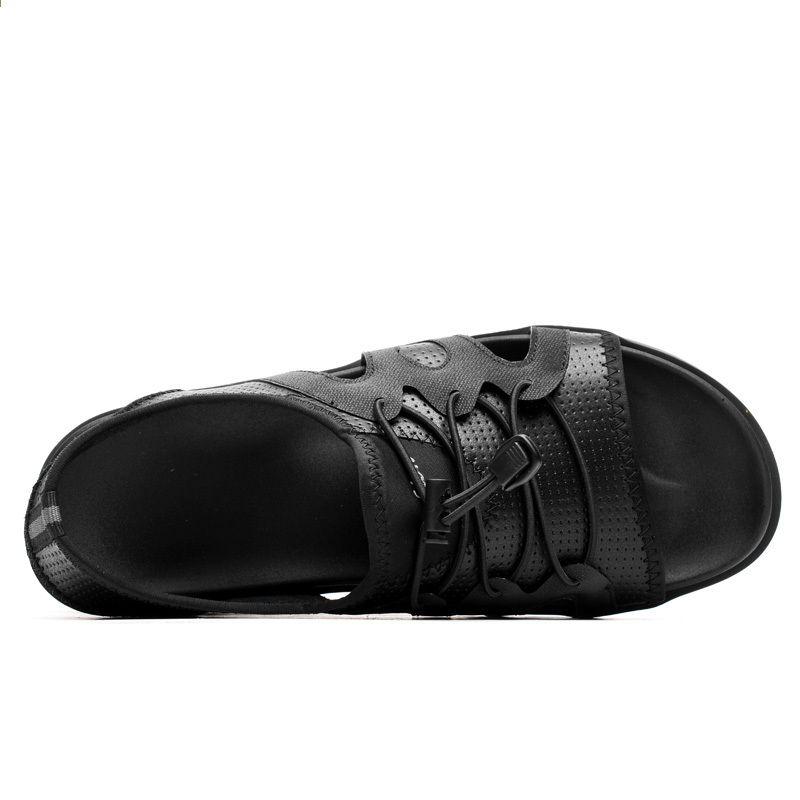 2018 Letnie Nowe Sandaly Plazowe Meskie Oryginalne Skorzane Meskie Wygodne Obuwie Meskie Antyposlizgowe Miekkie Gumowe Gumowe Sandaly Shoes Sandals Pool Slides