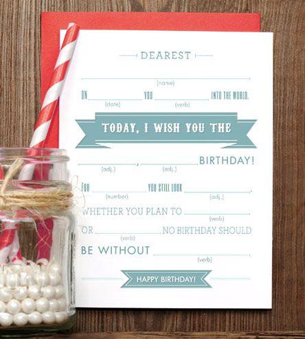 Mad Libs Happy Birthday Cards Crafty Pinterest Happy Birthday