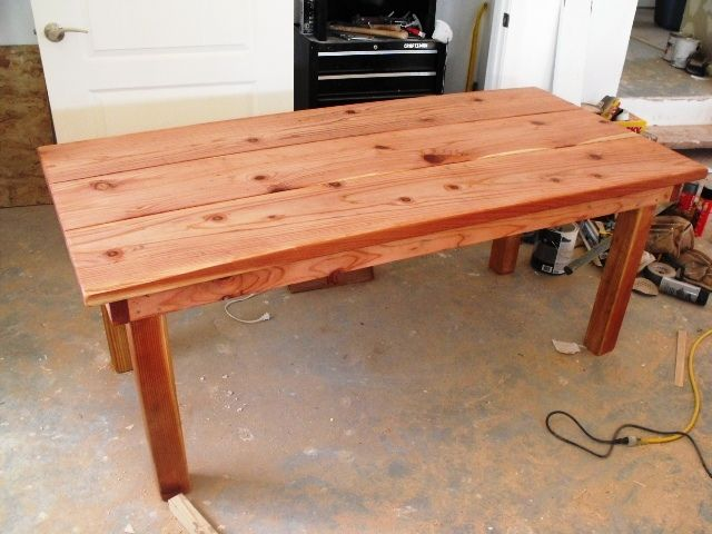 6' Solid Redwood table | Carpenter Papa