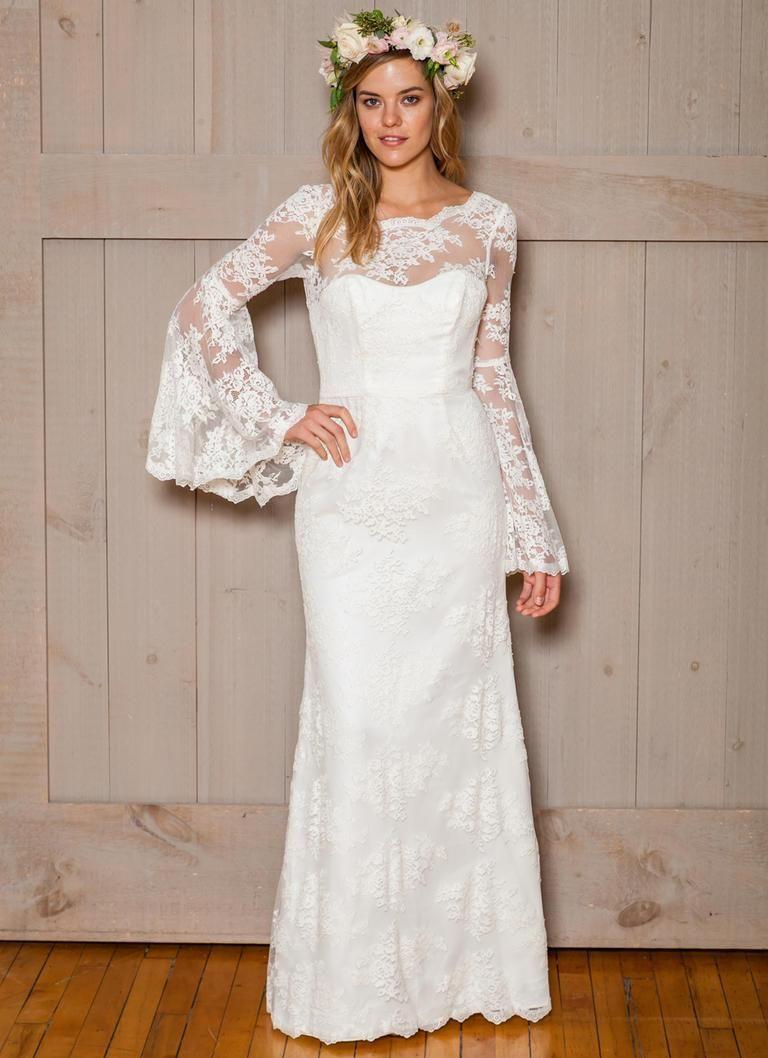 Long sleeve modest muslim wedding dresses overlay lace bell sleeves ...