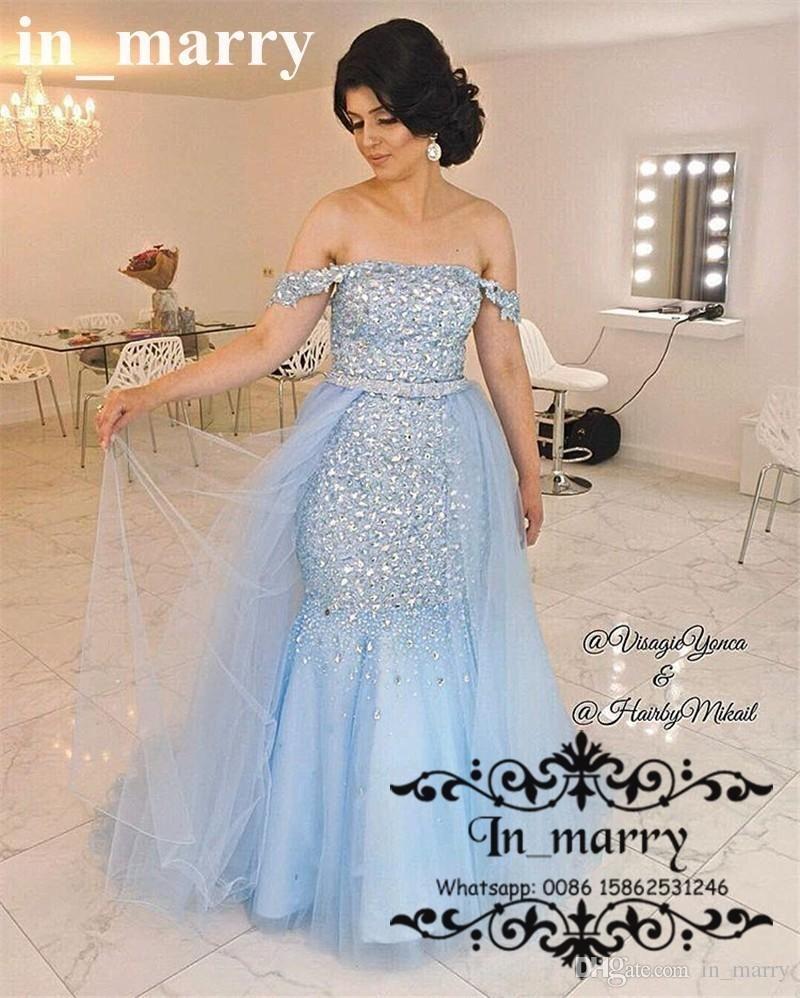 Luxury crystal rhinestone mermaid prom dresses with
