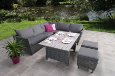 Coole Rattan Outdoor Garnitur Mit Tischplatte In Angesagtem Latten Design