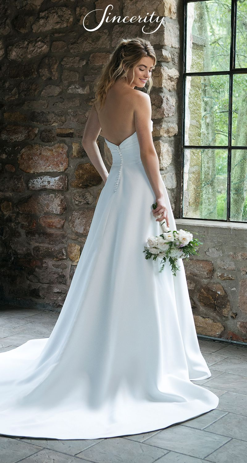 Style sweetheart satin aline wedding dress with ruched
