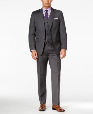 Lauren Ralph Lauren Men's Charcoal Pinstripe Pure Wool Big and Tall Slim-Fit Vested Suit - Medium Gre