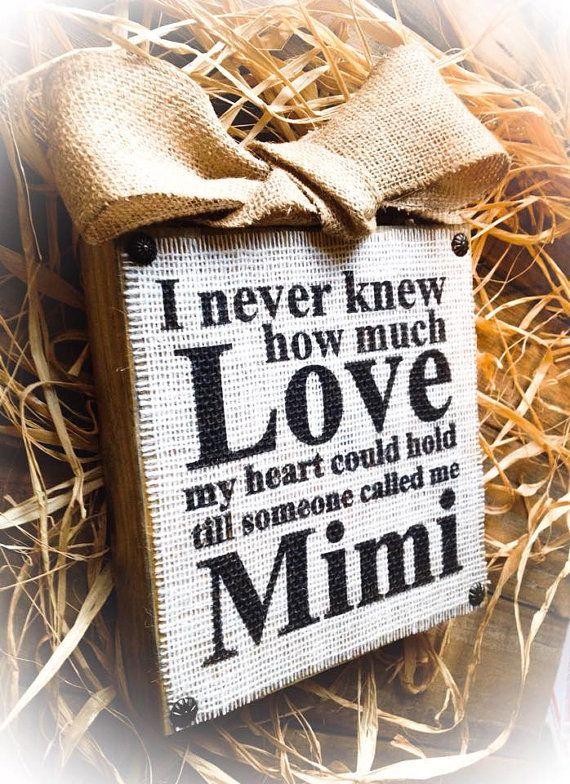 Mimi Sign  Wood Burlap Block  Love Nana  Mimi by DesignsBySyds