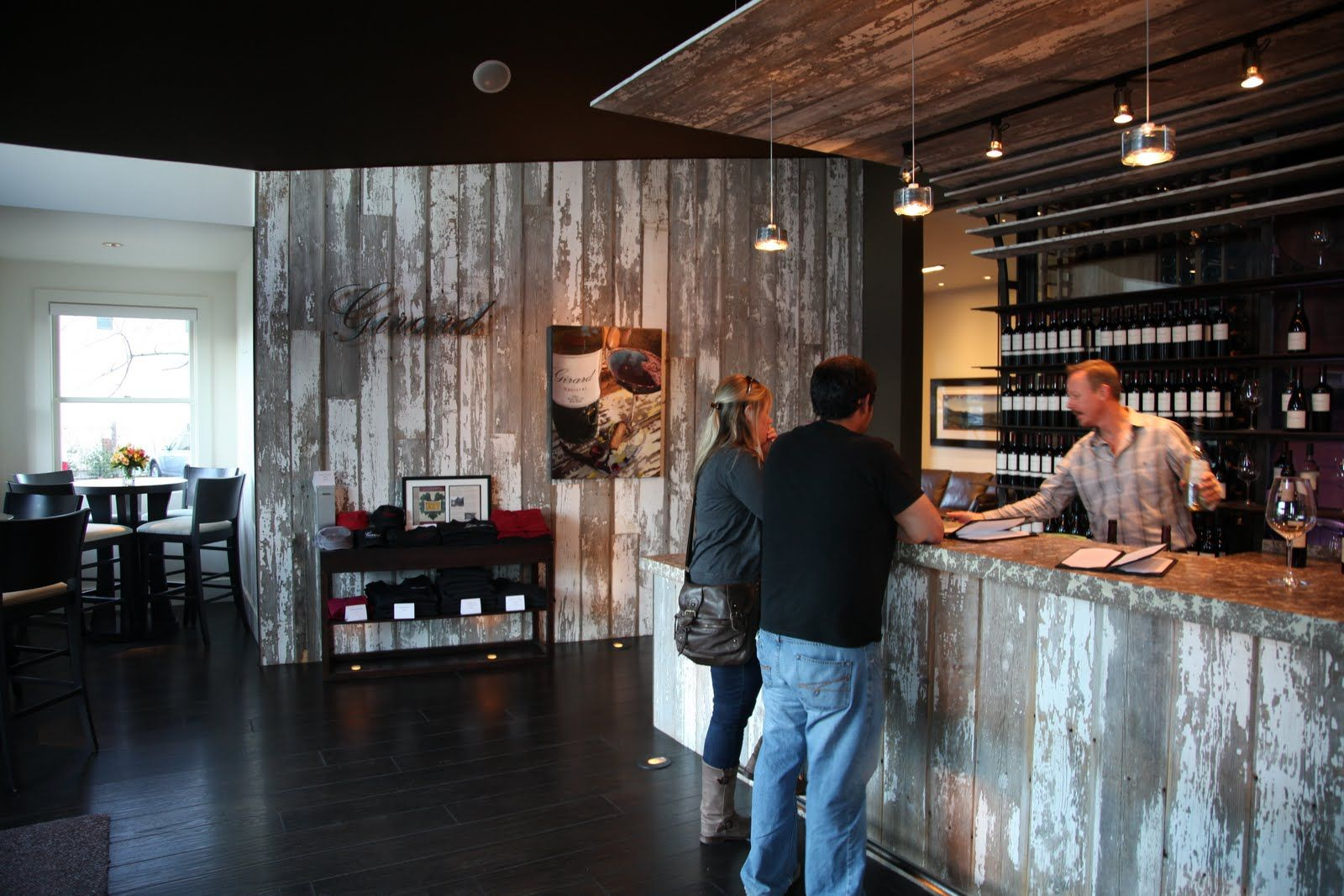 tasting room refined floor, vintage bar and soffit | Wine tasting ...