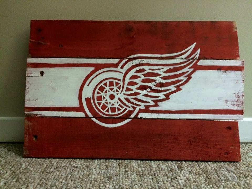 Man Cave Hockey Signs : Detroit red wings hockey logo painted wood sign for man cave