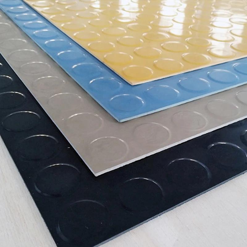 Green Black Yellow Round Buckle Antiskid Plastic Rubber Sheet Pvc Coin Mat Qihang Vinyl Flooring Rolls Checkered Floors Pvc Flooring