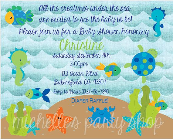 NEW - Under the Sea Baby Shower Invitations, Envelopes included, set of 12 on Etsy, $20.00