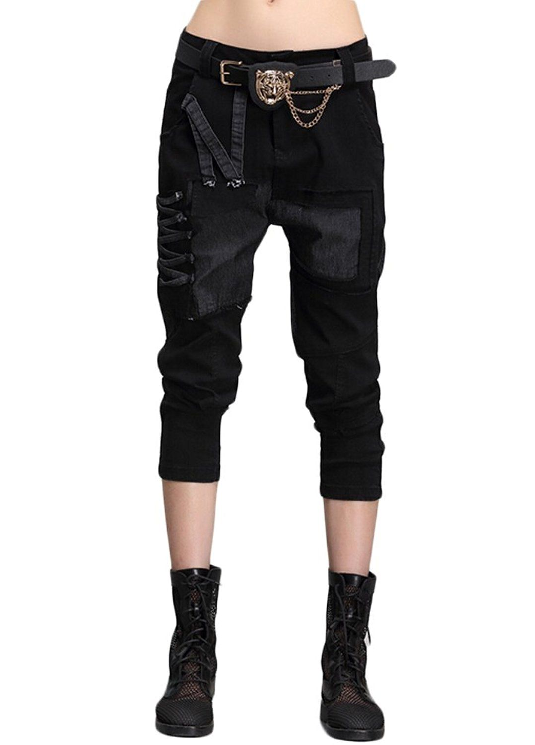 ba6d026cb40 Minibee Women s Harem Patchwork Leather Pocket Punk Style Personalized Pants  Black at Amazon Women s Clothing store