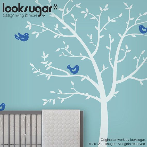 Tree Decals   Children Wall Decals With Birds   Nursery Wall Stickers    Baby Room Decoration