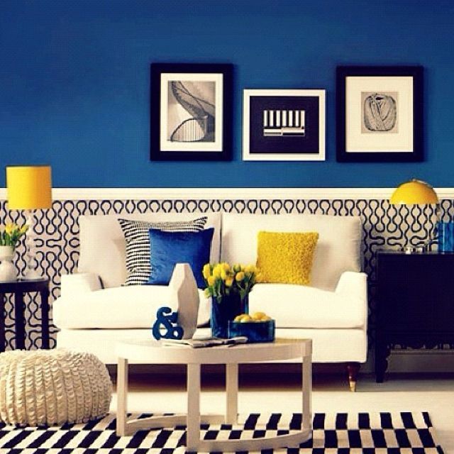 Black White Blue Yellow Room Bedroom Inspiration Wall Color For Master