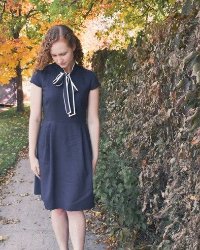 146ae353d5d J Crew Tie Neck Dress. Interview Outfit. Fashion Blogger at Window Seat View