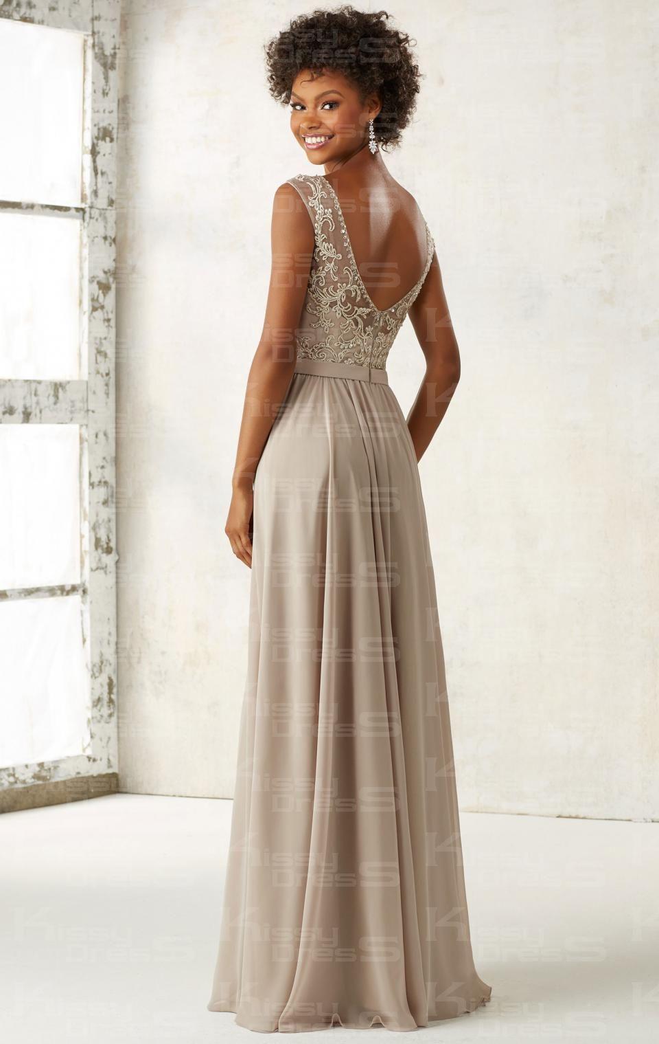 Kissybridesmaidsmodest champagne long bridesmaid dress