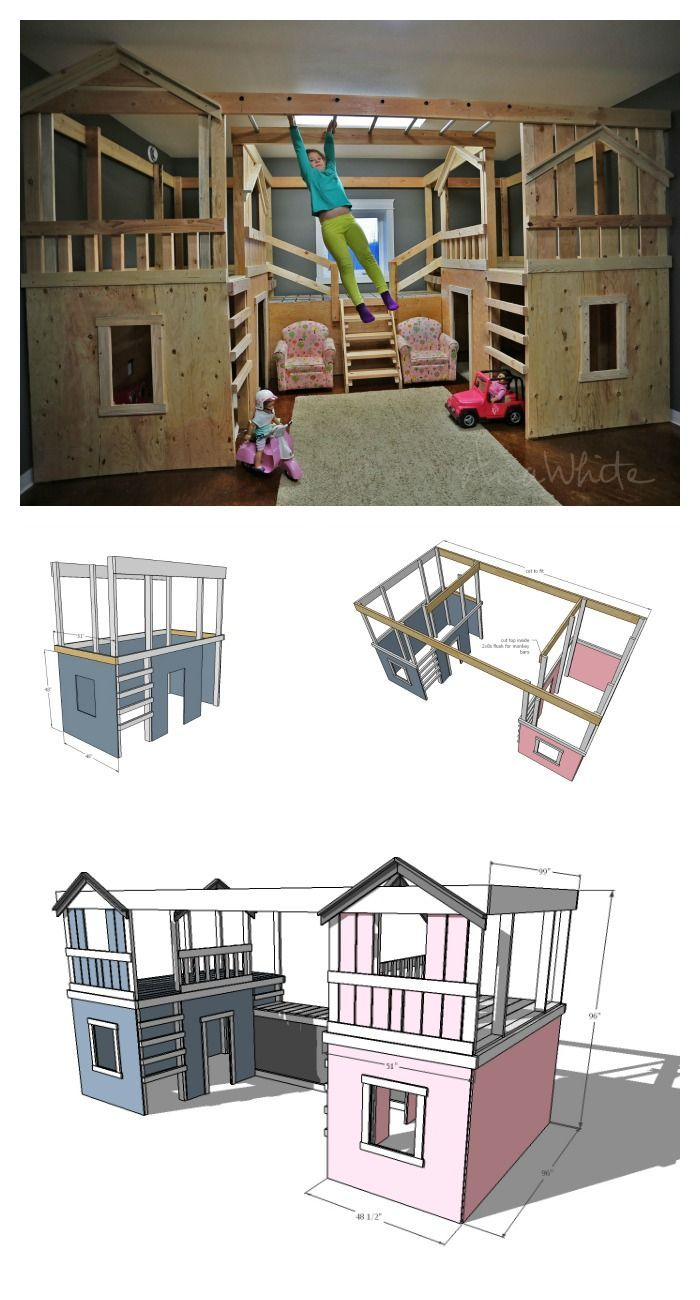 Ana white build a diy basement indoor playground with for Diy childrens indoor playhouse