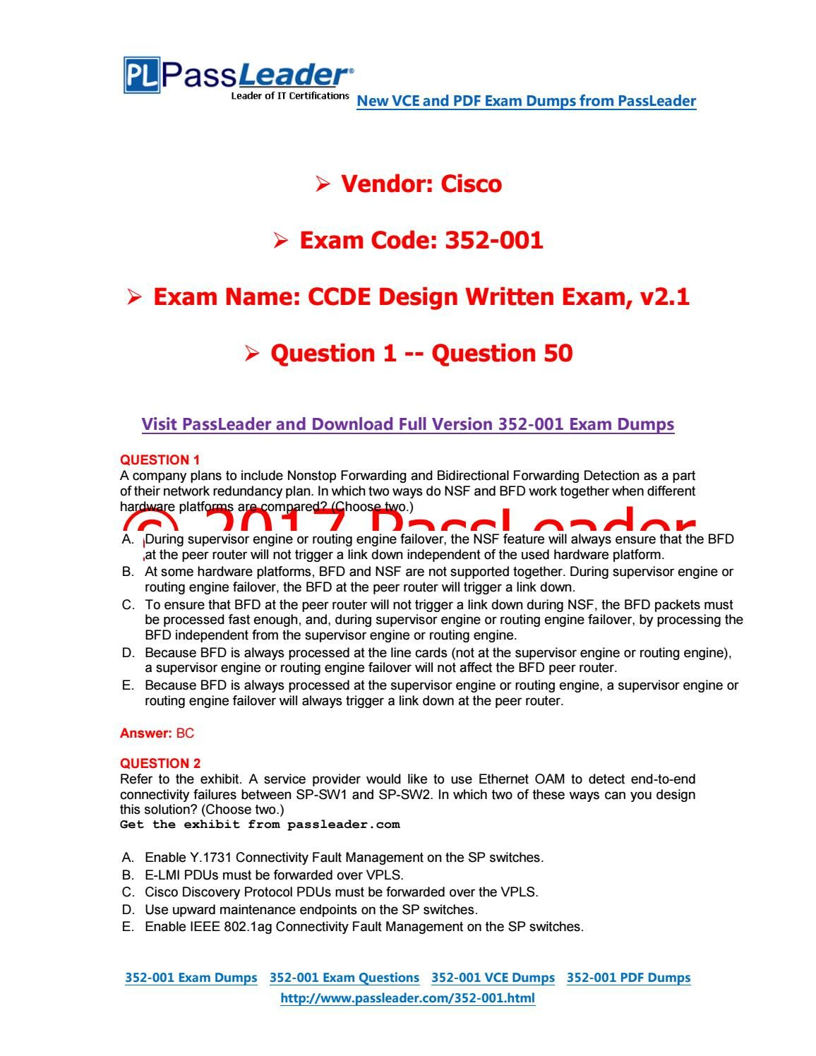 Passleader  Dumps With Vce And Pdf Question