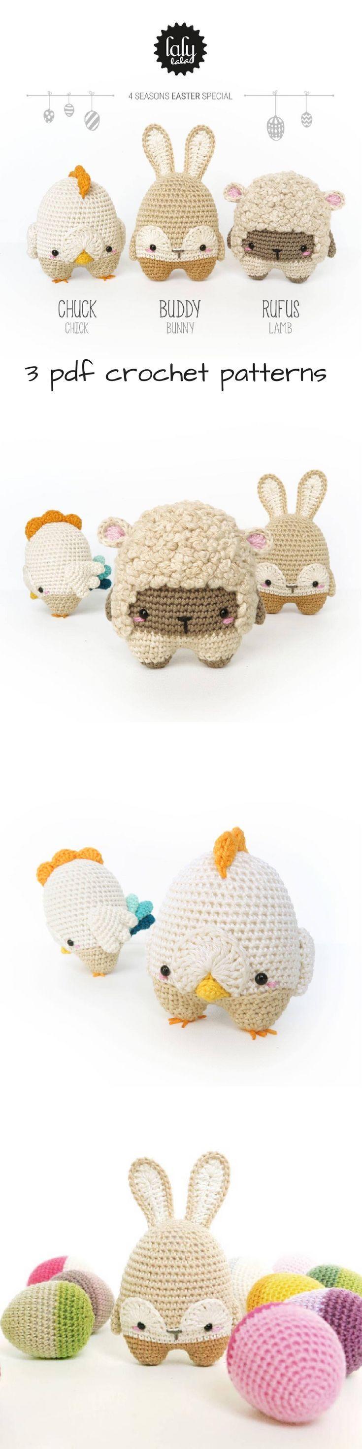 ADORABLE!!! Spring Easter 3 pack crochet amigurumi chick, bunny ...