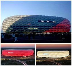 Allianz Arena home of FC Bayern. You can tell who's playing by the colour of the Arena....very cool.