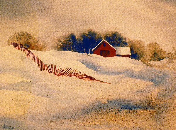 Red Fence. Watercolor by Teresa Ascone