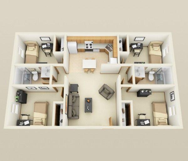 4 Bedroom Apartment House Plans 3d House Plans Sims House Plans House Layout Plans