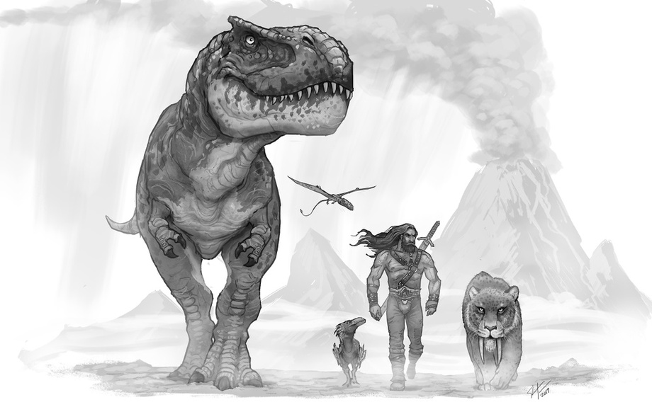 Prehistoric Beast master, an art print by Shaun Keenan